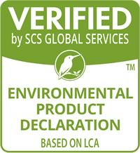 Verified by SCS global services environmental product declaration based on LCA logo